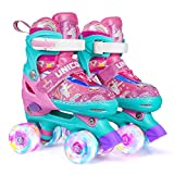 Wheelkids Roller Skates for Girls, Kids Roller Skates with Light Up Wheels, Pink Unicorn Roller Skates for Toddlers Children Outdoor Indoor Adjustable 4 Sizes