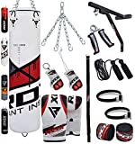 RDX Punch Bag for Boxing Training | Filled Heavy Bag Set with Punching Gloves, Chain, Wall Bracket | Great for Grappling, MMA, Kickboxing, Muay Thai, Karate, BJJ & Taekwondo | 17 pcs Comes in 4FT/5FT