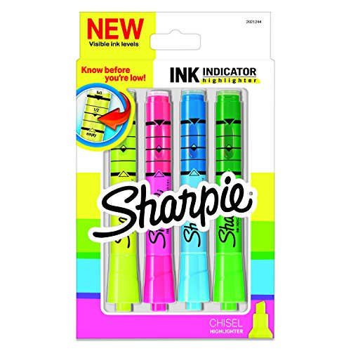 Sharpie Ink Indicator Tank Highlighters, Chisel Tip, Assorted Fluorescent, 4 Count (2021244)
