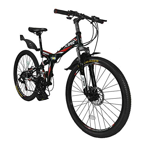 "Xspec 26"" 21-Speed Folding Mountain Bike for Adult, Shimano Black, 26"""