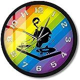 CXSMKP Orologio da Parete attivato dal Suono LED Light Disc Jockey Giradischi Mixer Record Metal Frame DJ Music Night Club Watch Lampada 12 Pollici