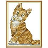 S-TROUBLE Kit de Bordado de Puntada Set Cute Cat Impreso Contado 14CT Punto de Cruz DIY Hecho a Mano Costura Reloj de Pared Sala de Estar Decoración del hogar