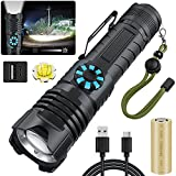 Rechargeable Tactical Flashlights 100000 High Lumens, Brightest Powerful LED Flashlight, Rotary Dimming, High Lumens, Zoomable Handheld Flashlight for Outdoor Indoor ( Battery Included)