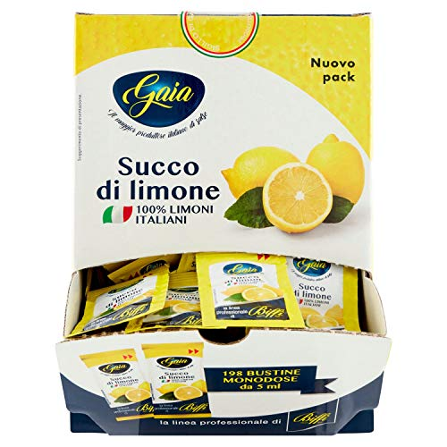 Gaia - Succo di Limone - 198 Bustine Monodose da 5Ml - 990 Gr