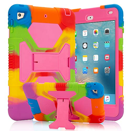 iPad Mini 5 Case (2019) iPad Mini 4 Case for Kids with Adjustable Kickstand Hybrid Three Layer Heavy Duty Cover Case with Shockproof for iPad Mini 4th/ 5th Generation (Rainbow Pink)