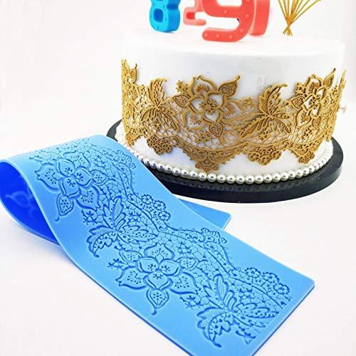 Shulcom Hoja Flor Encaje Cojín Decoración de la Torta Fondant Cake Molde 3D Molde de Silicona de Grado alimenticio