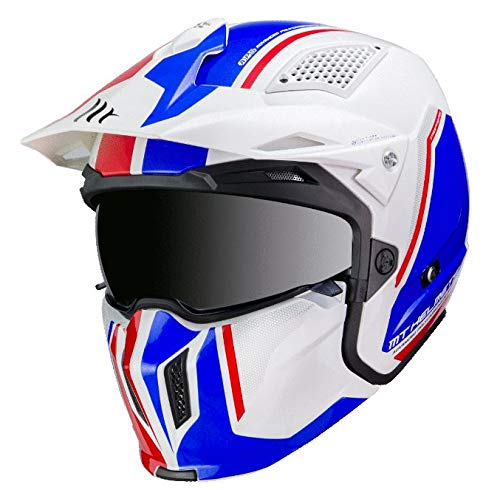 -MT- Casco CONVERTIBLE STREETFIGHTER TWIN B7 Blanco Azul (L 59-60)
