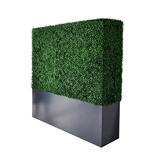 """AGPL Upgraded Artificial Boxwood Hedge Wall with Gray Color Planter Room Divider and Privacy Wall Backdrops (48"""" H 48"""" W 12"""" D)"""
