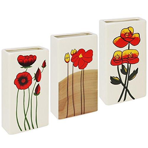 com-four® 3X Luftbefeuchter Heizung - Heizkörper Luftbefeuchter in Creme-weiß - Heizung Wasserverdunster aus Keramik mit verschiedenen Blumenmotiven (03 Stück - Blumen)