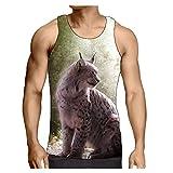 Hiser Débardeur sans Manches, 3D Animal Tank Top, S-3XL T-Shirt Sleeveless Débardeurs Respirant pour Homme Garçon Workout Musculation Exercising (Lynx,L)