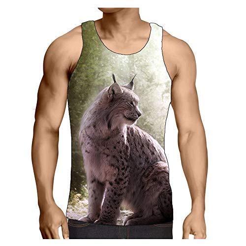 Hiser Herren Tank Top Sommer, 3D Tier Sport Muskelshirt Ärmellos T Shirt Fitness Unterhemd Top Shirt S-3XL für Outdoor Beach Party oder Gym Jogging Running (Luchs,L)