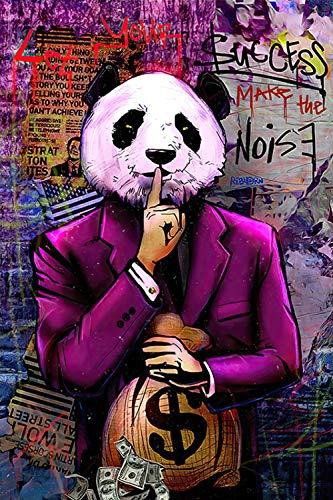 YWOHP Arte de Graffiti Callejero Animal Oso Panda Lienzo Pintura Mural Cartel impresión Mural Pared de Sala Cuadros-60X90