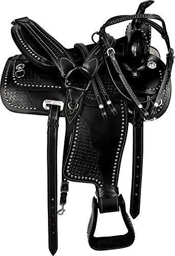 Blue Lake Premium Western Leather Barrel Racing Youth & Pony Horse Saddle with Matching Leather Headstall + Breast Collar + Reins | Color : Black | Size 13 Inches Seat Available