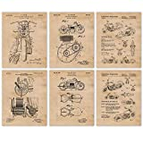 Vintage Indian Motorcycles Patent Poster Prints, Set of 6 (8x10) Unframed Photos, Wall Art Decor Gifts Under 20 for Home Office, Garage, Man Cave, Mechanic, College Student, Teacher, Coach, Bike Fan