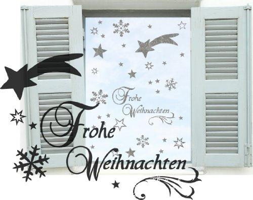 Silbener Dekobogen Weihnachtsfenster 44 Teile Sterne, Sternschnuppe, Schneeflocken, Schriftzug