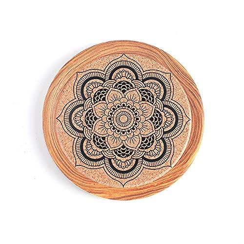 Manteles individuales,Platillo de pintura con tinta de flores, posavasos de cerámica, aislamiento térmico de madera de imitación, almohadilla de aislamiento de corcho, 4 piezas, decoración 1