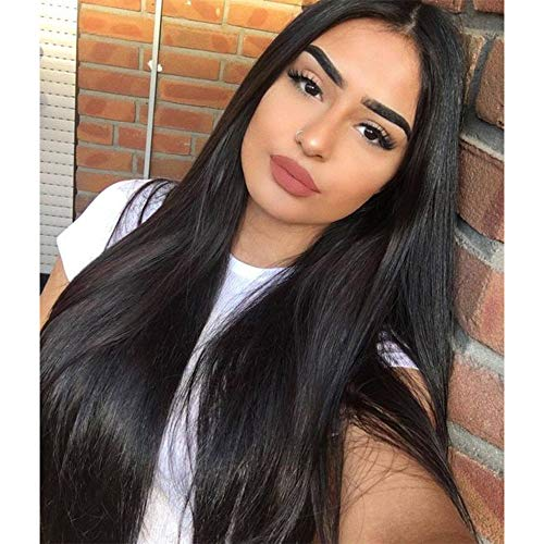 Vigorous Long Straight Black Wigs for Women Synthetic Black Wig Middle Part Hairline Natural Looking Daily Party Wear Full Wig 28 Inches Heat Resistant Fiber Hair(1B)
