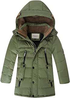 Zerototens Boys Coat,3-9 Years Old Toddler Kids Faux Fur Hooded Tops Autumn Winter Thick Warm Padded Jacket Children Windproof Overcoat Long Down Outwear Tops