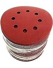 S&R Schuurpapier set 125mm, meester, 8 gaten, 60st. schuurbladen, schuurschijven voor klittenband: 10*P40, 10*P60, 10*P80, 10*P120, 10*P180, 10*P240