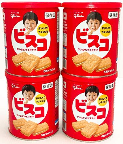 江崎グリコ ビスコ 保存缶 30枚入 4缶セット(5枚×6パック×4缶)【まとめ買い】