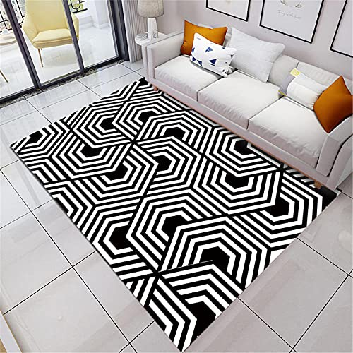 White Black Simple Geometric Stitch High-Definition Printing Living Room Bedroom Study Durable And Easy-Care Warm Carpet-60x90cm Fluffy Area Rug for Living Room Easy Maintenance
