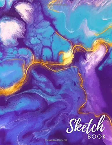 Sketch Book: Large Purple Liquid Marble Notebook for Graphic Designers - Plan Out Logo Design Concepts or Posters, Printable, Branding, Invitations, ... & Creative People - 8.5 x 11 - 110 pages