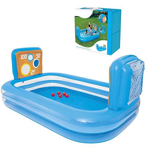 Appoo Aufblasbares Pool-Planschbecken-Schwimmzentrum mit Ocean Ball-Spielnetz verdicken Kunststoffblau Langlebige 7,8-Fuß-Familien-Lounge-Schwimmbäder für Erwachsene und Kinder, 237 x 152 x 94 cm