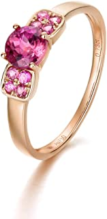 Carleen 18K Solid Rose Gold Pink Tourmaline Ring Dainty Fine Jewelry For Women Girls
