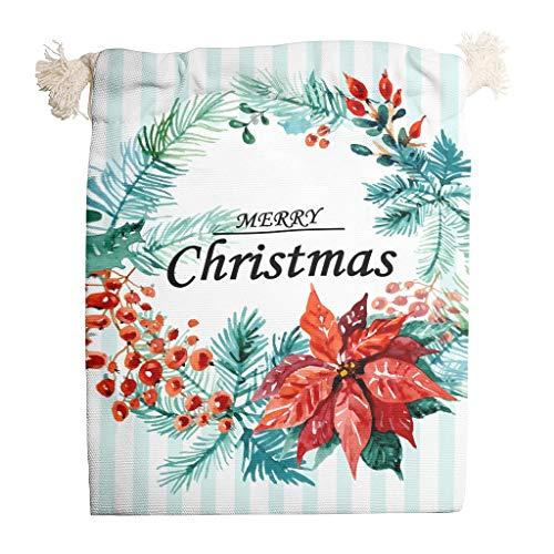 Rcerirt Christmas Tree New Year draagbaar Santa canvas tas met trekkoord partij voorkeur zakken
