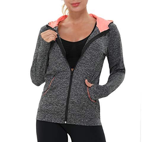 AMZSPORT Damen Laufjacke Sportjacke Langarm Trainingsjacke Sweatjacke mit Tasche Für Yoga Fitness Schwarz XXL