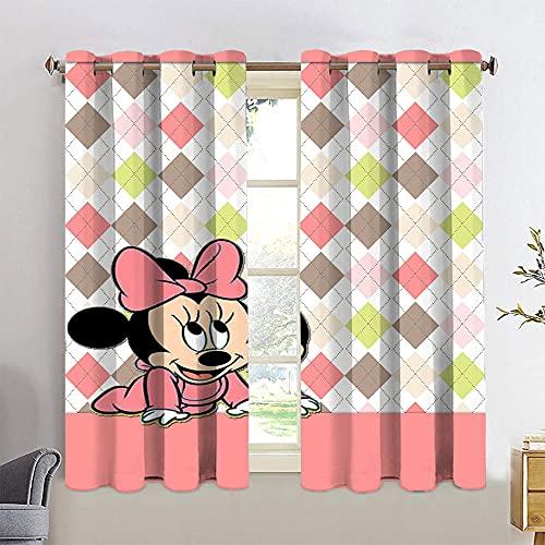 Juego de cortinas opacas con ojales en la parte superior del dormitorio, 42 x 72 de Mickey Minnie Mouse
