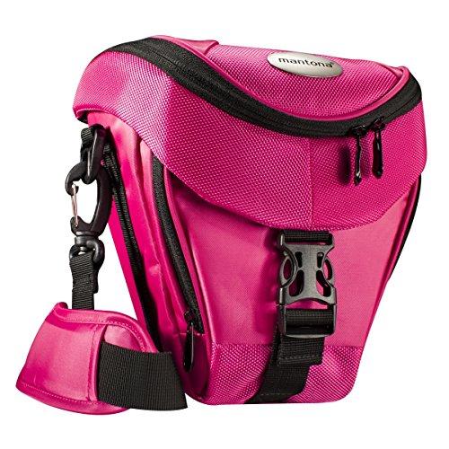 Mantona Colt DSLR Kamera Tasche für Spiegelreflex, SLR, Kompaktkamera, Systemkamera, Schultertasche Umhängetasche mit Platz für Zubehör, wasserdicht, pink