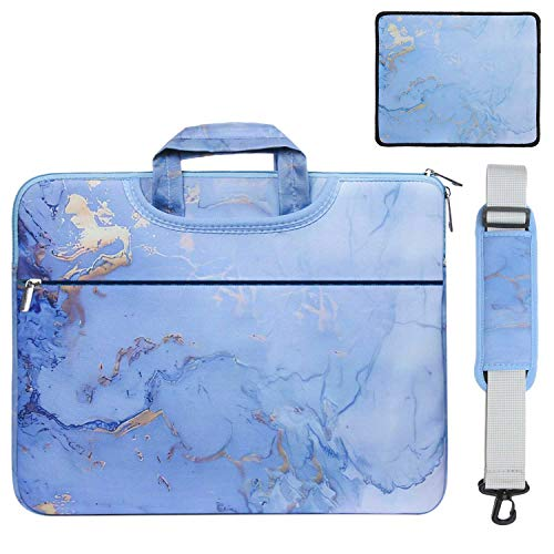 13.3 15.6 inch Laptop Shoulder Messenger Handbag Sleeve Notebook Computer Carrying Case Multiple Styles Protective Cover with Mouse Pad Gift (13-13.3 inch-Water Blue Marble)