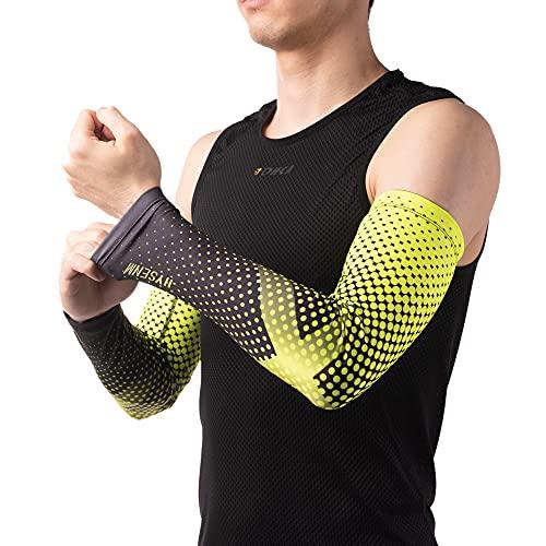 HYSENM Unisex Schnelltrocknende mehrfarbige Ärmlinge Armstulpen hochelastisch AtmungsaktiveAnti-UV UPF50+ Radfahren Outdoor-Sport, Gelb L/XL