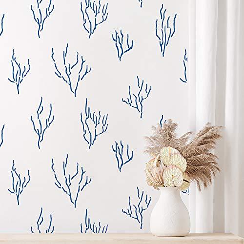 STENCILIT® Corals - Plantilla de pared grande para pintar (61 x 80 cm), diseño de pared marina