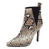 EveKitty Mujer Tacón de Aguja Botas Chelsea Sin Cordones Tobillo Botas Animal Print Zapatos Vestido Botas de Fiesta Apricot Talla 39 Asian