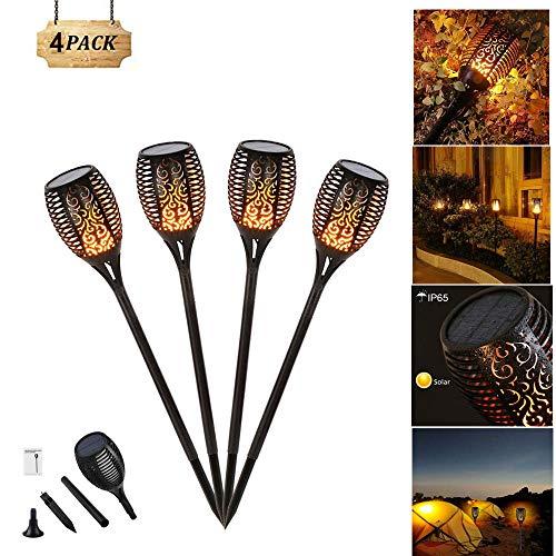 Danse flammes vacillantes de sécurité Lampes torches d'extérieur, 96 LED lanterne, Technologie de capteur de lumière, Lampe pour jardin patio pelouse (4 Pack)