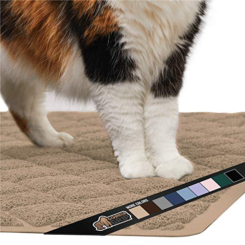Gorilla Grip Original Premium Durable Cat Litter Mat, 24x17, No Phthalate, Water Resistant, Traps Litter from Box and Cats, Scatter Control, Soft on Kitty Paws, Easy Clean Cat Mat, Beige