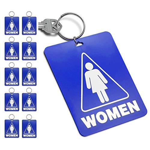 Lucky Line - Chaveiro com chave de passagem de banheiro feminino, plástico com chaveiro dividido Identificador para restaurante, escritório, posto de gasolina, 10 por pacote (53000)