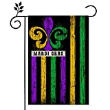 CROWNED BEAUTY Mardi Gras Garden Flag 12×18 Inch Small Retro Fleur de Lis New Orleans Vertical Double Sided Flag for Outside Yard Carnival Party Farmhouse Décor CF035-12