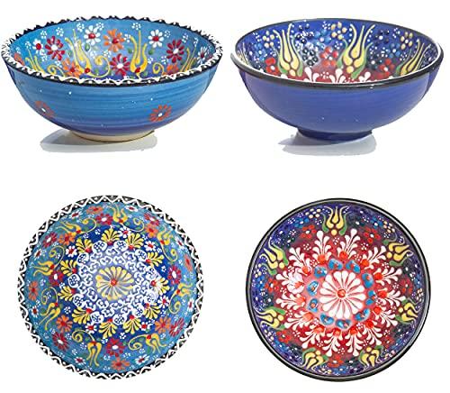 Keramik schalen 2er Set - Schalen für Tapas, Snack, Dessert, Vorspeisen, Dips, Süßigkeiten - Bunte Home Decorative Handarbeit Schalen - Ø 12 cm