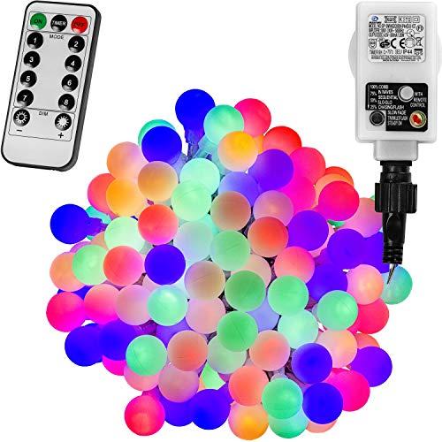 VOLTRONIC® 50 100 200 LED Party Kugel Lichterkette, GS geprüft, mit Timer, 8 Programme, Fernbedienung, für innen und außen, erhältlich in: warmweiß/kaltweiß/bunt, IP44, Outdoor