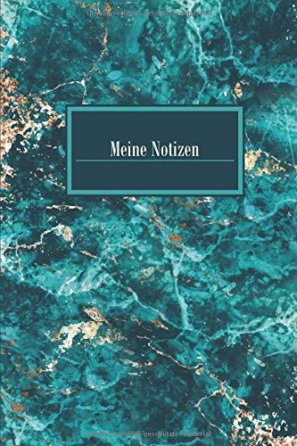 Meine Notizen: Blanko Journal Liniertes Buch A5 Marble Marmor Gold Grün