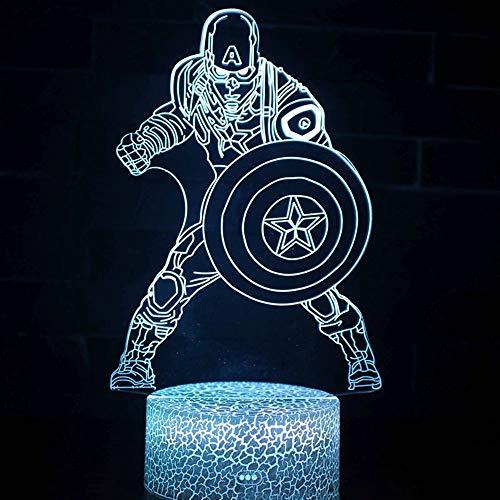 Juego de animación único héroe guerrero USB luz de noche led creativa 5D luz de noche visual acrílico multicolor lámpara de mesa pequeña para decoración del hogar base de grietas