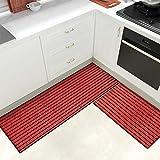 Color & Geometry Juego de Alfombrillas de Cocina Antideslizantes de 2 Piezas, alfombras de Barrera con Respaldo de Goma, Alfombra Absorbente y Lavable para Cocina (44x75cm + 44x150cm, Rojo)