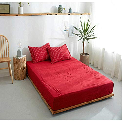 haiba Premium Textiles Exclusive - Sábana bajera ajustable (180 x 200 cm + 25 cm), color morado