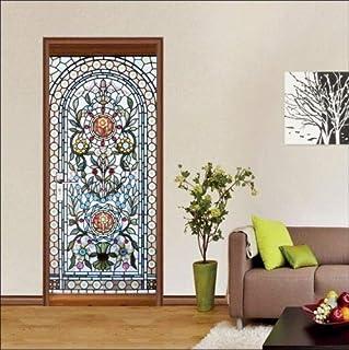 FLFK Fleur de Jardin Autocollant Porte Affiche 3D pour Cuisine Chambre Salle de Bain Auto-adh/ésif Amovible Murale D/écoration 77X200cm