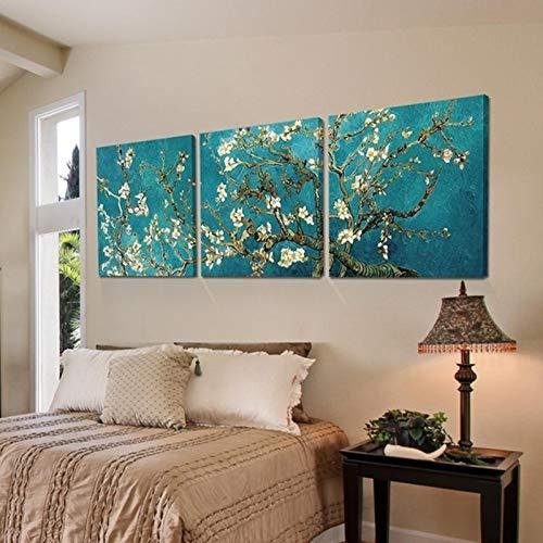 SUNNYWLH Wandbild 3 Panels Life Lucky Tree Poster Gemälde Abstrakte Ölbaum Leinwand Kunst Gemälde Aprikose Blume Blühende Wand Bilder