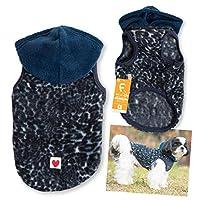 犬猫の服 full of vigor_レオパード柄フリースパーカー_7/ブルー_NL_小型犬・ダックス用