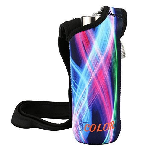 """ICOLOR Water Bottle Carrier,Wide Mouth Water Bottle Holder Kids Sport Water Bottle Pouch Shoulder Sleeve Bag Cover Fit Stainless Steel & Plastic Bottle Diameter Less Than 3"""""""